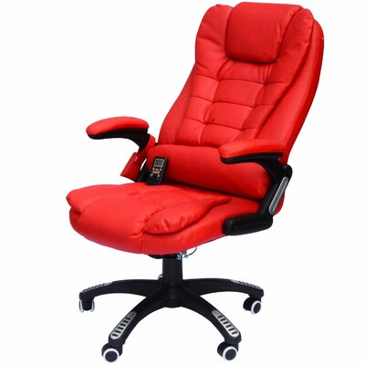 Whiting Faux Leather Heated Massage Chair Upholstery: Red