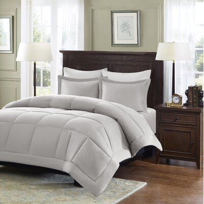 Duncan Microcell Down Alternative Reversible Comforter Mini Set Size: Full / Queen, Color: Grey