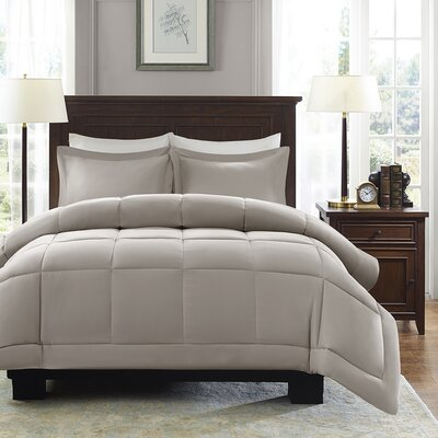 Duncan Reversible Comforter Set Size: Twin, Color: Taupe