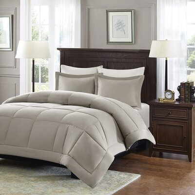 Duncan Microcell Down Alternative Reversible Comforter Mini Set Size: Twin, Color: Taupe