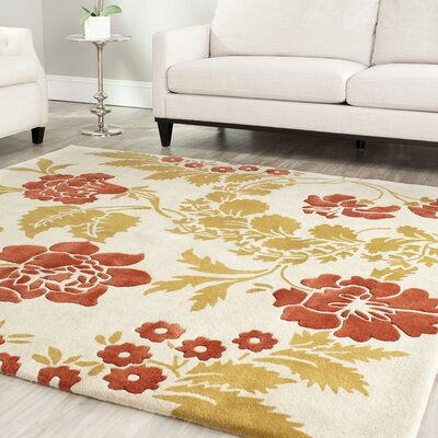 Trudie Beige/Rust Area Rug Rug Size: Rectangle 6 x 9