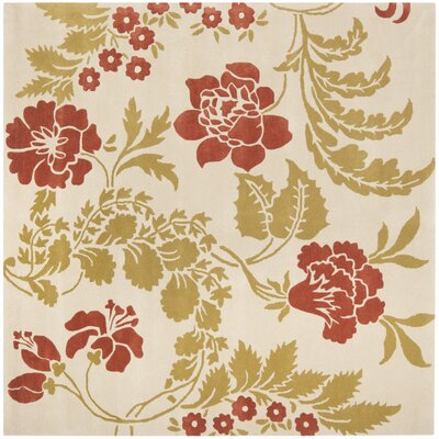 Trudie Beige/Rust Area Rug Rug Size: Square 7
