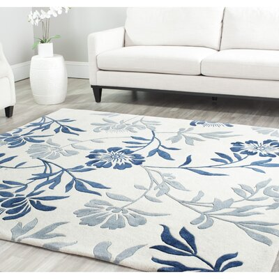 Trudie Hand-Woven Wool Ivory/Blue Area Rug Rug Size: Rectangle 6' x 9'