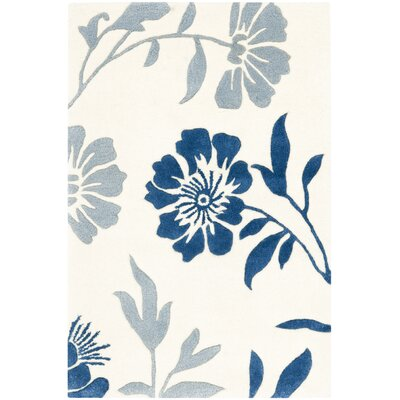 Trudie Hand-Woven Wool Ivory/Blue Area Rug Rug Size: Rectangle 2 x 3