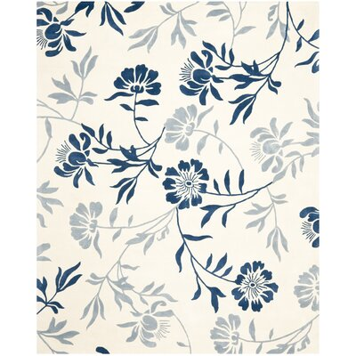 Trudie Ivory/Blue Area Rug Rug Size: 8' x 10'