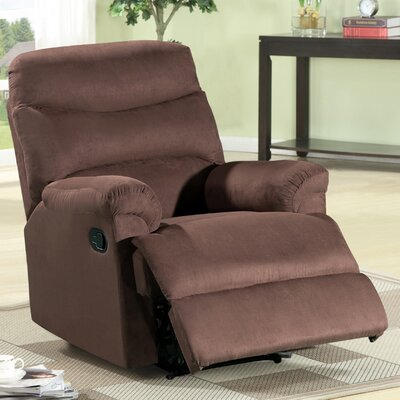 Jonathan Contemporary Microfiber Recliner Upholstery: Dark Brown