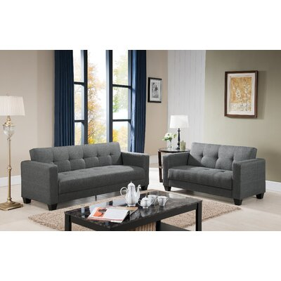 Ruth Sofa and Loveseat Set Upholstery: Grey