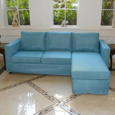 Luella Reversible Sectional Upholstery: Blue (Linen Look)