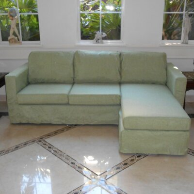 Luella Reversible Sectional Upholstery: Green (Linen Look)
