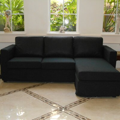 Luella Reversible Sectional with Ottoman Upholstery: Black (Polyester/Polyester blend)