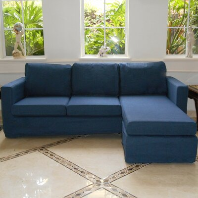 Luella Reversible Sectional Upholstery: Navy (Linen Look)