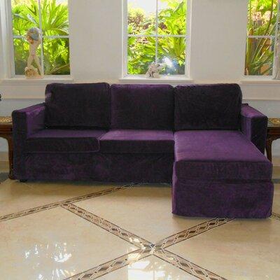 Luella Reversible Sectional Upholstery: Purple (Velvet Look)