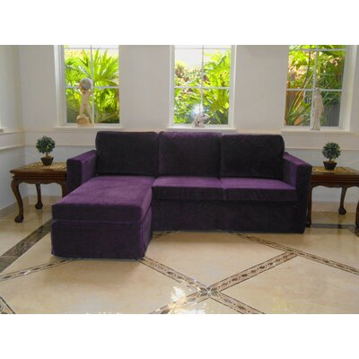 Luella Reversible Sectional with Ottoman Upholstery: Purple (Velvet Look)