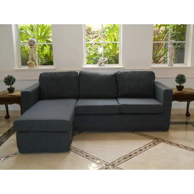 Luella Reversible Sectional with Ottoman Upholstery: Titanium (Polyester/Polyester blend)