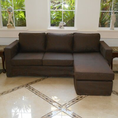 Luella Reversible Sectional Upholstery: Espresso Suede (Microfiber Leather Look)