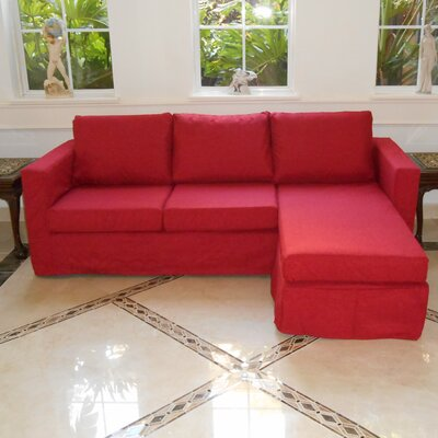 Luella Reversible Sectional Upholstery: Red (Linen Look)