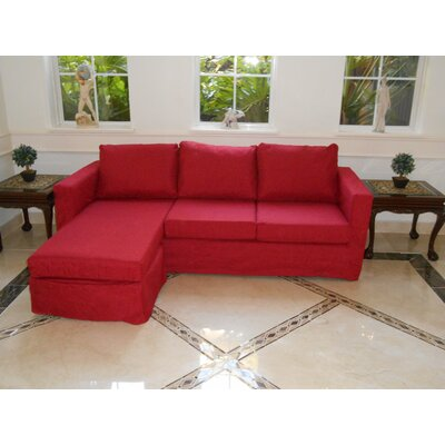 Luella Reversible Sectional with Ottoman Upholstery: Red (Polyester/Polyester blend)