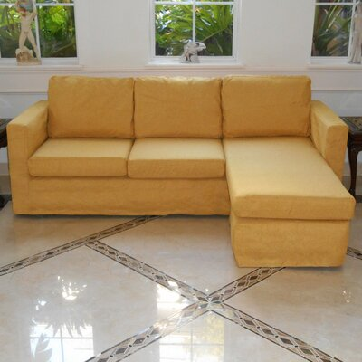 Luella Reversible Sectional with Ottoman Upholstery: Yellow (Polyester/Polyester blend)