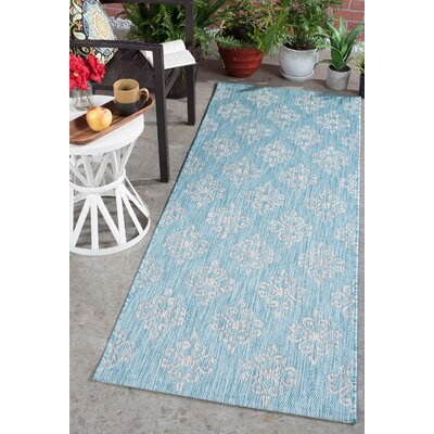 Bella Transitional Aqua Indoor/Outdoor Area Rug Rug Size: Runner 27 x 73