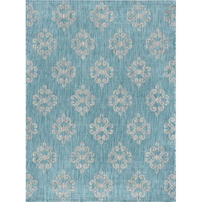 Bella Transitional Aqua Indoor/Outdoor Area Rug Rug Size: 710 x 103