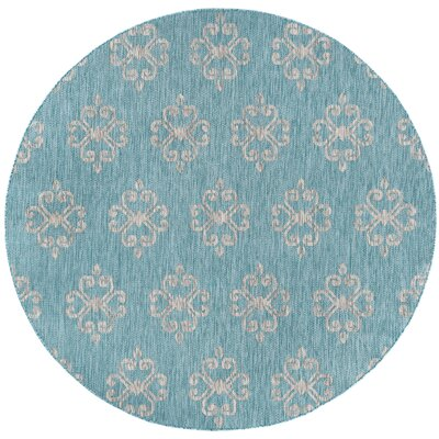 Bella Transitional Aqua Indoor/Outdoor Area Rug Rug Size: Rectangle 53 x 73