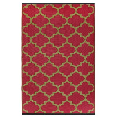 Martina Tangier Hand Woven Pinkberry/Bronze Indoor/Outdoor Area Rug Rug Size: 6 x 9