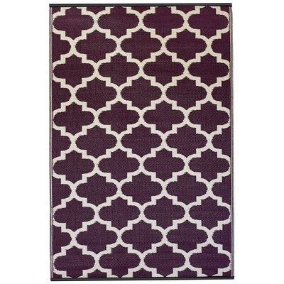 Martina Tangier Purple & White Indoor/Outdoor Area Rug Rug Size: 3 x 5