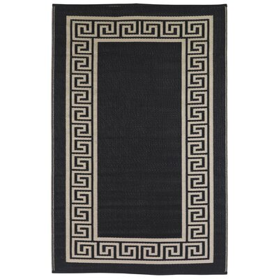 Martina Black Indoor/Outdoor Area Rug Rug Size: 4 x 6