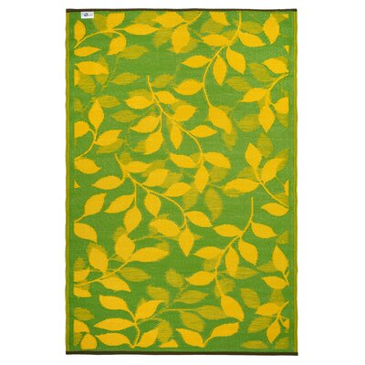 Martina Lemon Yellow/Moss Green Indoor/Outdoor Area Rug Rug Size: 4 x 6