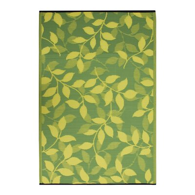 Martina Lemon Yellow/Moss Green Indoor/Outdoor Area Rug Rug Size: 6 x 9
