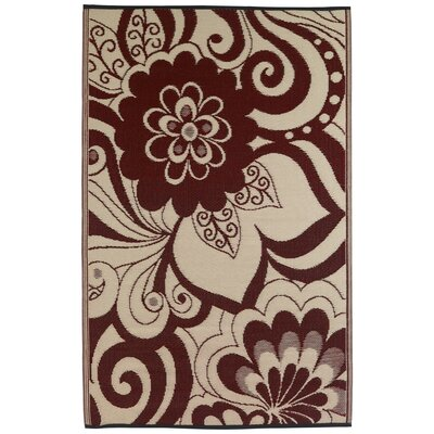 Martina Cranberry Red/Cream Indoor/Outdoor Area Rug Rug Size: 4 x 6