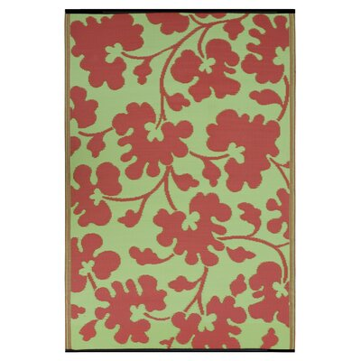 Martina Scarlet Red/Moss Green Indoor/Outdoor Area Rug Rug Size: 3 x 5