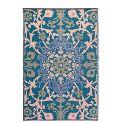 Martina Indoor/Outdoor Blue/Beige Area Rug Rug Size: 4 x 6