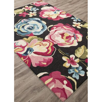 Lambert Hand-Tufted Black/Pink Area Rug Rug Size: 76 x 96