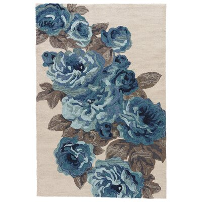 Lambert Hand-Tufted Ivory/Blue Area Rug Rug Size: Rectangle 76 x 96