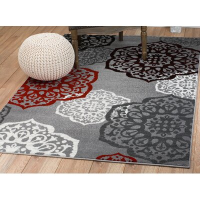 Frieda Gray Area Rug Rug Size: 74 x 106