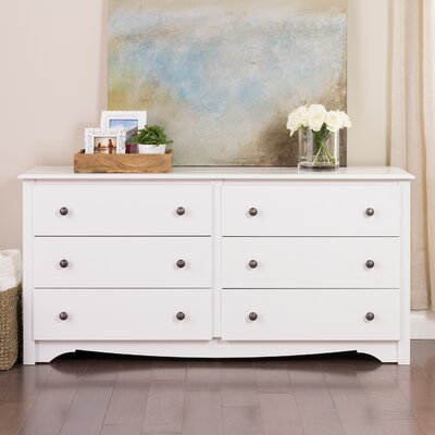 Sybil 6 Drawer Double Dresser Color: White