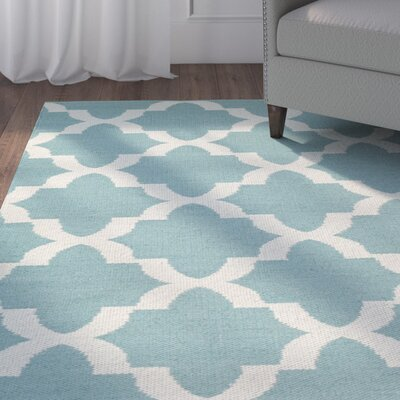 Tyesha Hand-Tufted Teal/White Indoor/Outdoor Area Rug Rug Size: Rectangle 2 x 3