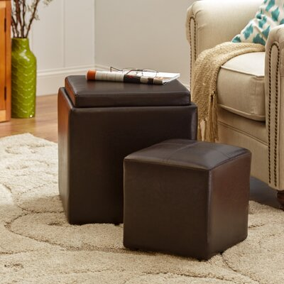 Lucinda Cube Ottoman and Stool Upholstery: Brown