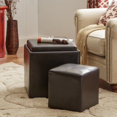 Lucinda Cube Ottoman and Stool Upholstery: Black