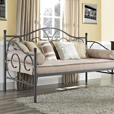 Yolanda Metal Scroll Daybed Color: Pewter, Size: Twin