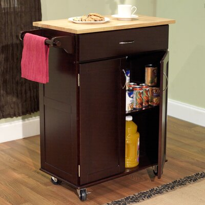 Jefferson Kitchen Cart with Wood Top Base Finish: Espresso