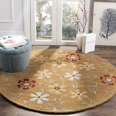 Ross Camel / Multi Contemporary Rug Rug Size: Round 6