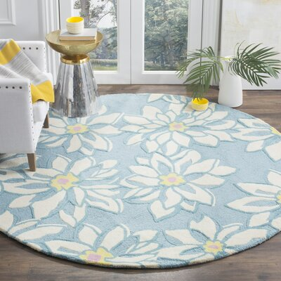 Ross Light Blue/Ivory Floral Area Rug Rug Size: Round 6