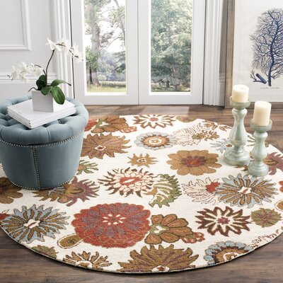 Hutsonville Floral Ivory / Multi Contemporary Rug Rug Size: Round 6