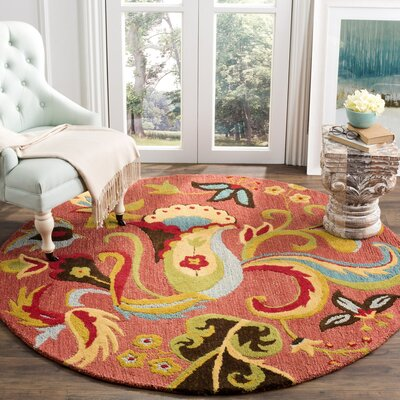 Ross Beige/Red Area Rug Rug Size: Square 6