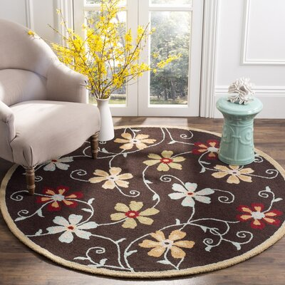 Ross Brown/Multi Area Rug Rug Size: Round 6