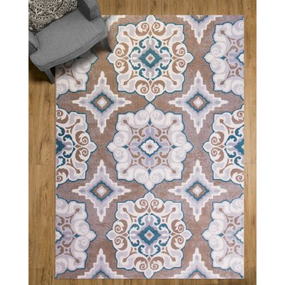 Natural Cerulean Blue/Taupe Area Rug Rug Size: Rectangle 92 x 125