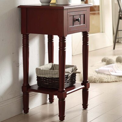 Carleton 1 Drawer End Table Finish: Red