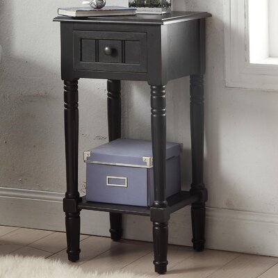 Carleton 1 Drawer End Table Color: Black